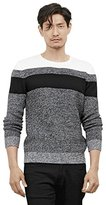 Kenneth Cole Reaction Men's Colorblock Striped Marled Crew Neck Sweater