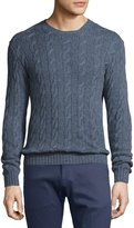 Ralph Lauren Cashmere Cable-Knit Crewneck Sweater, Supply Blue