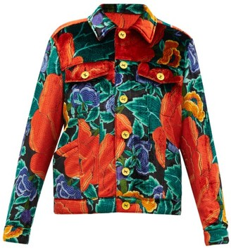 M Missoni Floral-print Upcycled-velvet Shirt Jacket - Red Multi