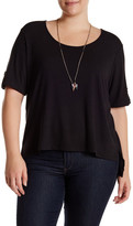 Halo Ribbed Short Sleeve Tee with Necklace (Plus Size)