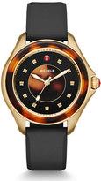 Michele Cape Tortoiseshell Topaz Watch with Black Strap