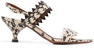 L'Autre Chose Snake Print Slingback Sandals