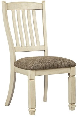 Signature Design by Ashley Bolanburg Dining Upholstered Side Chair, White/Brown - Side Chair