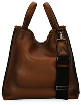 Salvatore Ferragamo Firenze Glow Runway Men's Leather Tote Bag with Goat Hair Trim, Brown