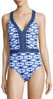 MICHAEL Michael Kors Printed Cross-Back One-Piece Swimsuit