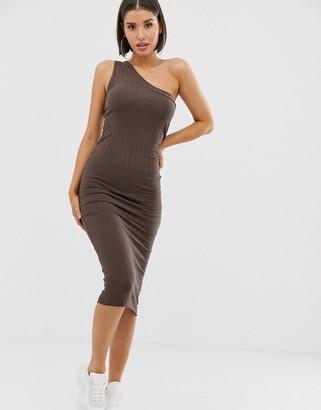 Asos Design DESIGN one shoulder midi chunky rib bodycon-Brown