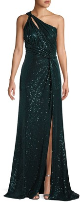 Rene Ruiz Collection Draped Sequin One-Shoulder Gown