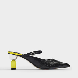 YUUL YIE Peyton Sandals In Black Croc Embossed Leather With Light Yellow Heels