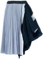 Sacai pleated asymmetric midi skirt - women - Cotton/Polyester - 3