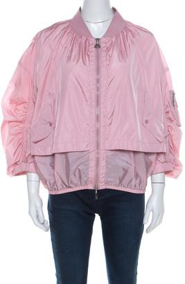 Moncler Pink Layered Zip Front Lightweight Bomber Jacket XL