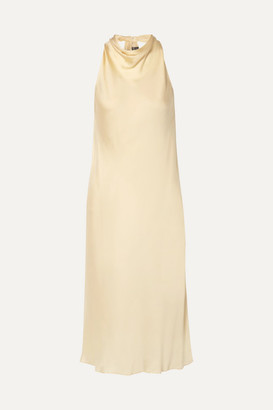Theory Twist-back Silk-charmeuse Midi Dress - Ecru