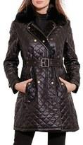 Lauren Ralph Lauren Women's Quilted Three-Quarter Coat With Faux Fur Trim