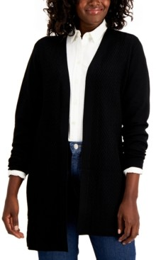 Karen Scott Chevron-Knit Open-Front Cardigan, Created for Macy's