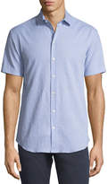 Emporio Armani Seersucker Short-Sleeve Sport Shirt, Light Blue