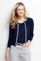Lands' End Women's Tall Cropped Applique Cardigan-Blue Lilac Geo