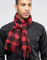 Fred Perry Tartan Scarf In Cashmere Mix