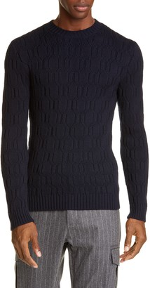 Eleventy Diamond Wool Crewneck Sweater