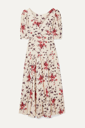 LoveShackFancy Lenny Floral-print Cotton-voile Maxi Dress - Cream