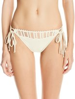 Robin Piccone Women's Sophia Crochet Fringe Tie Side Bikini Bottom