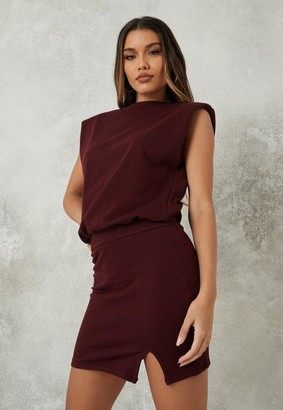 Missguided Burgundy Shoulder Pad Mini Dress