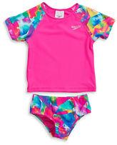 Speedo Girls 2-6x Abstract Rash Guard and Bikini Bottom Swimsuit Set