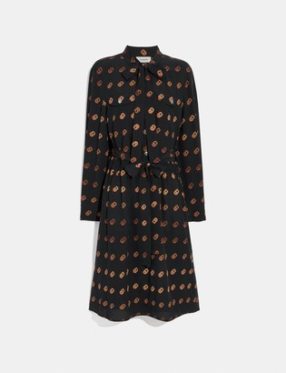 Coach Print Tie Neck Dress