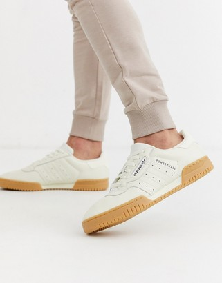 adidas powerphase trainers in off white leather with gum sole