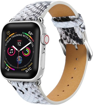 White/Grey Posh Tech Snakeskin Embossed Leather 38mm Apple Watch 1/2/3/4 Band