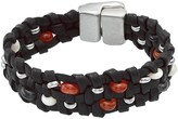 Uno de 50 Going Beaded Braided Black Leather Bracelet
