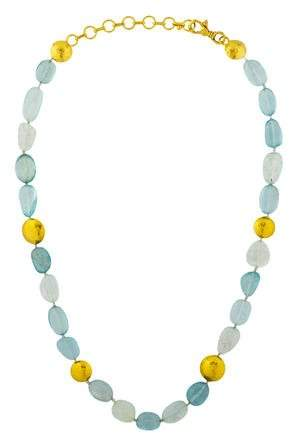 Gurhan 24K Aquamarine Bead Necklace