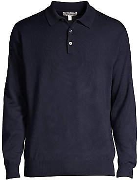 Peter Millar Men's Honeycomb Wool Silk Long-Sleeve Polo