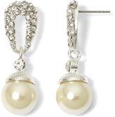 JCPenney Vieste Silver-Tone Pearlized Glass Bead Pav Drop Earrings
