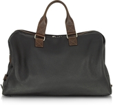 Chiarugi Black and Brown Genuine Leather Weekender