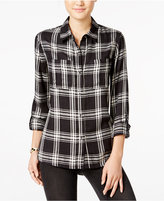 Jessica Simpson Dion High-Low Plaid Shirt