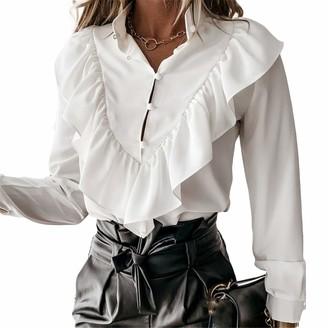 Ai.Moichien Women's Button V-Neck Ruffle Shirt Polka Dot Print Tops Blouse Pullover Black Spots XL