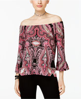 INC International Concepts Petite Printed Off-The-Shoulder Ruffle Top, Created for Macy's