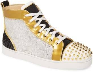 Christian Louboutin Crystal Embellished Glitter High Top Sneaker