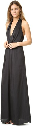 Jill Stuart Jill Women's Halter Deep-V Matte Charmuese Gown