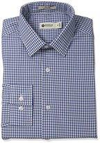 Haggar Men's Mini Check Point Collar Regular Fit Long Sleeve Dress Shirt