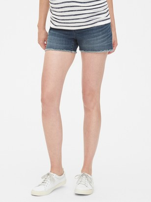 Gap Maternity Full Panel Denim Shorts with Raw Hem