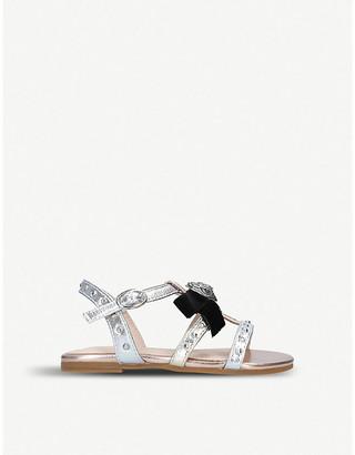 Kurt Geiger London Luminate metallic faux-leather sandals 7-10 years