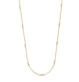 Wanderlust + Co Beaded Bar Chain Gold Necklace