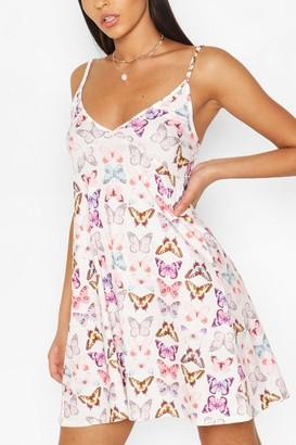 boohoo Butterfly Strappy Swing Dress