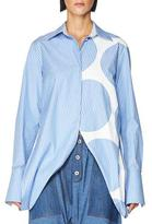 Stella McCartney Striped Open-Side Poplin Top, Blue/White