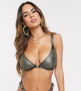 Wolfwhistle Wolf & Whistle Fuller Bust Exclusive triangle bikini top with buckles in shimmer D-F