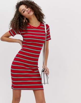 Brave Soul diana dress in stripe rib-Red