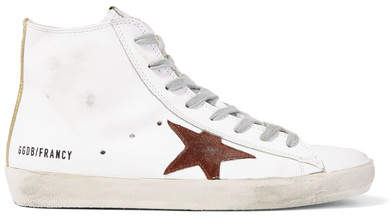 Golden Goose Francy Distressed Leather And Suede High-top Sneakers - White