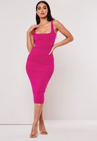 Missguided Petite Premium Fuchsia Bandage Scoop Front Midi Dress