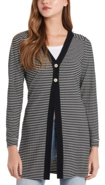 Vince Camuto Striped Ribbed Cardigan