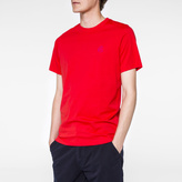 Paul Smith Men's Red Flocked PS Logo Organic-Cotton T-Shirt